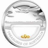 Treasures of Australia – 2010 – 1 Dollar – Australia – silver coin with gold nuggets