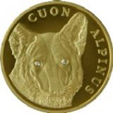 Cuon Alpinus (Red wolf) with 2 diamonds – 500 Tenge – Kazakhstan – gold coin