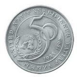 50th Anniversary of the United Nations – 20 Tenge – Kazakhstan – nickel coin