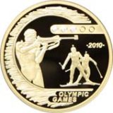 Olympic Games-2010 – Biathlon with 3 diamonds – 500 Tenge – Kazakhstan – gold coin