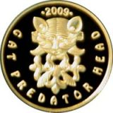 Cat Predator Head – 50 Tenge – Kazakhstan – gold coin