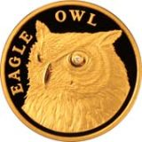 Eagle Owl with diamond – 500 Tenge – Kazakhstan – gold coin