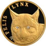 Felis Lynx with 2 diamonds – 500 Tenge – Kazakhstan – gold coin
