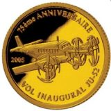 "75th Anniversary of Aircraft ""JU-52"" – Congo – 2005 – gold coin"