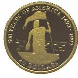 500 Years of America (Columbus) – Cook Islands – 1995 – gold coin