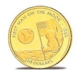 First man on the Moon – Cook Islands – 1995 – gold coin