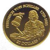 Friedrich von Schiller 1759-1805 – Cook Islands – 1996 – commemorative gold coin