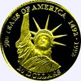 500 Years of America (Liberty Statue) – Cook Islands – 1995 – gold coin