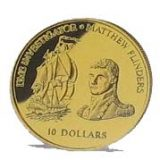 "Ship ""Investigator"" & Mathew Flinders – Fiji – 2002 – gold coin"