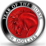 Mother of Pearl – Year of Horse – Cook Islands – 2014 – 50 Dollars – 5 oz silver coin