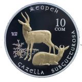 Goitered gazelle – 10 Som – Kyrgyzstan – silver coin with gilding