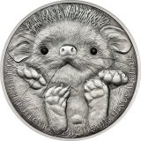 Long-eared Hedgehog – 500 Togrog – 2012 – Mongolia – silver coin with crystals
