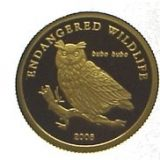 Wildlife Protection (Owl) – Mongolia – 2005 – gold coin