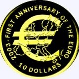 First Anniversary Of Euro – Nauru – 2003 – gold coin