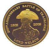 Lord Nelson, 200th Anniversary of Trafangal battle – Tristan da Cunha – 2005 – gold coin