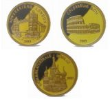 World famous places (Moscow, London, Rome) – Togo – set of 3 gold coins in wooden box