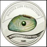 PEARLS: Mystery of the Sea (Green Pearl) – Palau – 2012 – 5 Dollars – silver coin with pearl