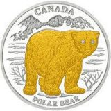 Polar Bear (Canada) – 2004 – Liberia – 10 Dollars – silver coin with gilding & 2 diamonds