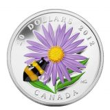 Bumble Bee & Aster Flower – 2012 – Canada – 20 Dollars – silver coin with Murano (Venetian Glass)