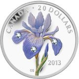 Blue Flag Iris – 2013 – Canada – 20 Dollars – silver coin with Swarovski Crystals