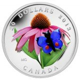 Butterfly & Purple Coneflower – 2013 – Canada – 20 Dollars – silver coin with Murano (Venetian Glass)