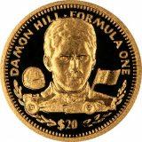 Formula-1: Damon Hill – Liberia – 1992 – gold coin