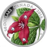 Red Trillium – 2014 – Canada – 20 Dollars – silver coin with Swarovski Crystals