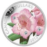 Rhododendron – 2012 – Canada – 20 Dollars – silver coin with Swarovski Crystals
