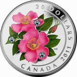 Wild Rose – 2011 – Canada – 20 Dollars – silver coin with Swarovski Crystals