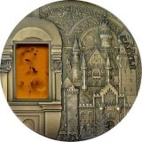 MINERAL ART – NEUSCHWANSTEIN CASTLE – Palau – 2011 – 10 Dollars – silver coin with amber