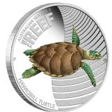 Australian Sea Life: Hawksbill Turtle – 2011 – Australia – 50 Cents – coloured silver coin