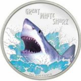Great White Shark – Tuvalu – 2007 – 1 Dollar – coloured silver coin