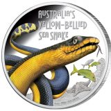Australia's Yellow-Bellied Sea Snake – Tuvalu – 2013 – 1 Dollar – coloured silver coin