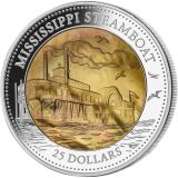 Mother of Pearl – Mississippi Steamboat – Cook Islands – 2015 – 25 Dollars – 5 oz silver coin