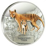Tasmanian Tiger – Tuvalu – 2011 – 1 Dollar – coloured silver coin