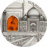 MINERAL ART – Taj Mahal – Palau – 2014 – 10 Dollars – silver coin with amber