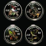 Birds of New Zealand – Cook Islands – 2005 – 2 Dollars – set of 4 coloured silver coins