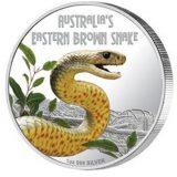 Australia's Eastern Brown Snake – Tuvalu – 2010 – 1 Dollar – coloured silver coin