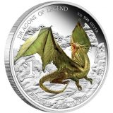 Dragons of Legend: European Green Dragon – Tuvalu – 2013 – 1 Dollar – coloured silver coin