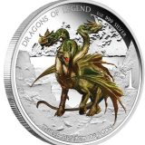 Dragons of Legend: Three Headed Dragon – Tuvalu – 2013 – 1 Dollar – coloured silver coin