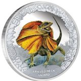 Australia's Remarkabe Reptiles: Frilled Neck Lizard – Tuvalu – 2013 – 1 Dollar – coloured silver coin