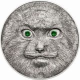 Otocolobus Manul – 500 Togrog – 2014 – Mongolia – silver coin with crystals