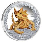 Australia's Remarkabe Reptiles: Thorny Devil Lizard – Tuvalu – 2014 – 1 Dollar – coloured silver coin