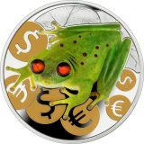 Money Frog – Niue – 2015 – 2 Dollars – silver coin with amber