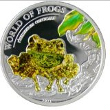 WORLD OF FROGS: Theloderma corticale – Palau – 2011 – 2 Dollars – coloured silver coin