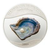 PEARLS: Jewels of the Sea (White Pearl) – Palau – 2009 – 5 Dollars – silver coin with pearl