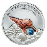 PEARLS: Miracle of the Sea (Sky Pearl) – Palau – 2016 – 5 Dollars – silver coin with pearl