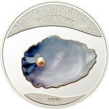 PEARLS: Pearls of the Sea (Blue Pearl) – Palau – 2008 – 5 Dollars – silver coin with pearl
