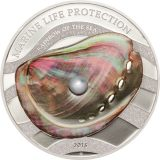 PEARLS: Rainbow of the  Sea (Sky Pearl) – Palau – 2015 – 5 Dollars – silver coin with pearl