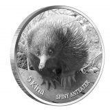 Spiny Anteater – Papua New Guinea – 2012 – 5 Kina – silver coin with 2 black diamonds